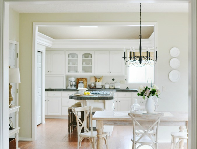 Kitchen makeover with white painted cabinets
