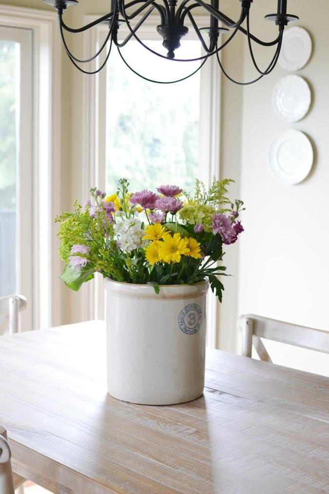 Wildflowers in antique crock