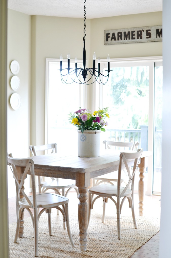 farmhouse breakfast nook dining table and chairs atthepicketfence.com