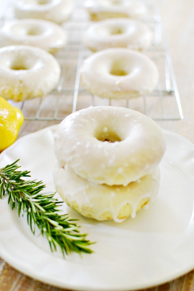 Baked Lemon Rosemary Donuts