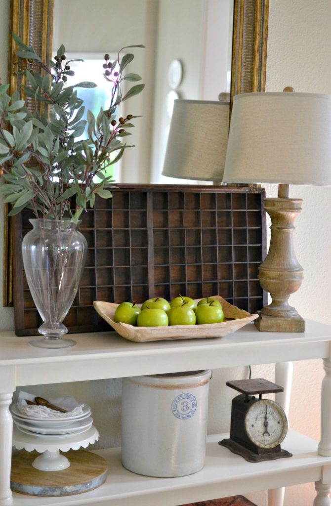 decorating with vintage wood typeset tray