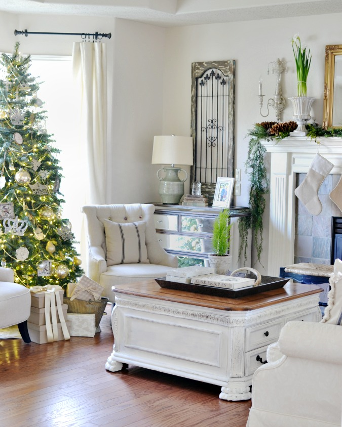 Elegant French country Christmas living room