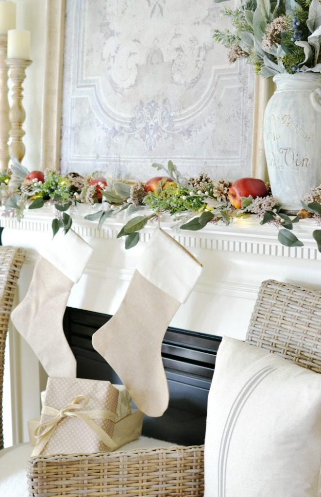 Simple French Country Christmas Mantel
