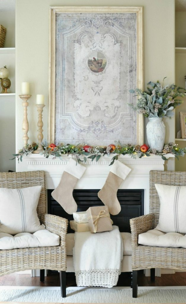 French Country inspired Christmas Mantel