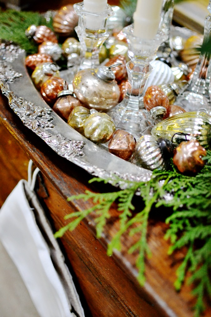 Mercury Glass Ornaments in a tray