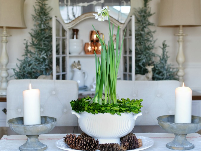 French country Christmas centerpiece