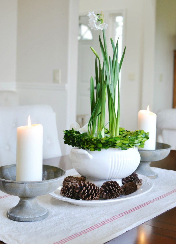 Paperwhites in soup tureen centerpiece