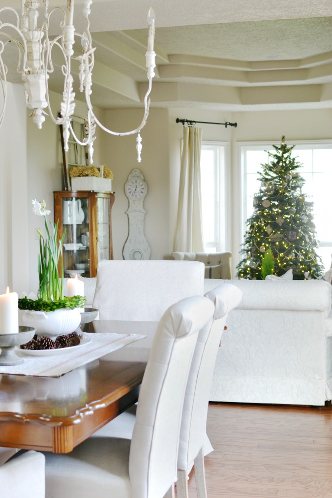 Simple elegant Christmas dining and living room