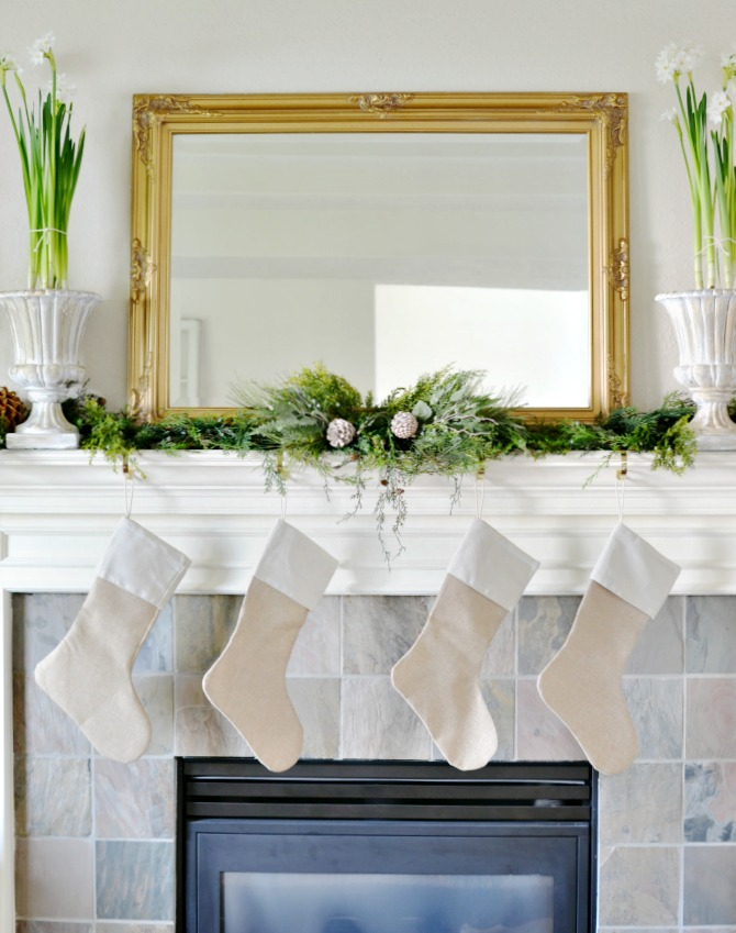 Traditional Christmas mantel with paperwhites