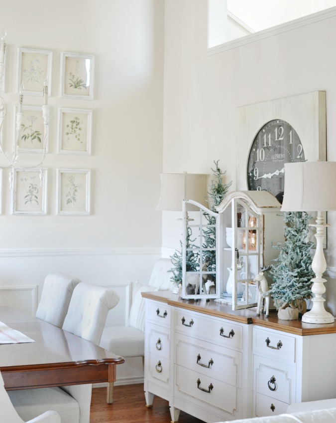 Winter dining room buffet table