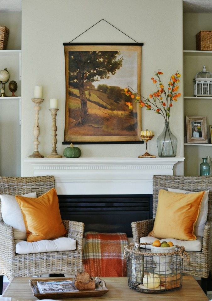 Fall Mantel with Traditional Colors