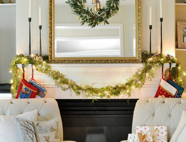 Simple and Traditional Christmas Mantel