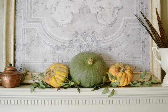 Copper and Feathers Fall Mantel
